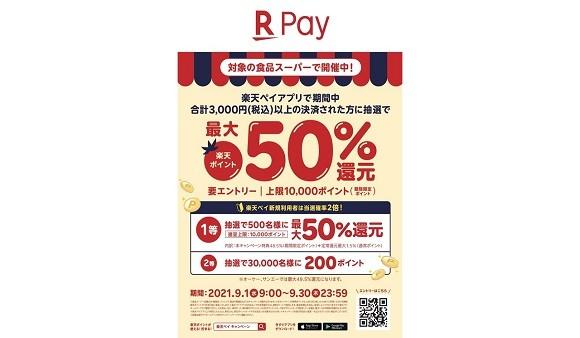 食品スーパー限定 楽天ペイアプリで期間中合計3000円(税込)以上の決済された方に抽選で最大50%還元キャンペーン